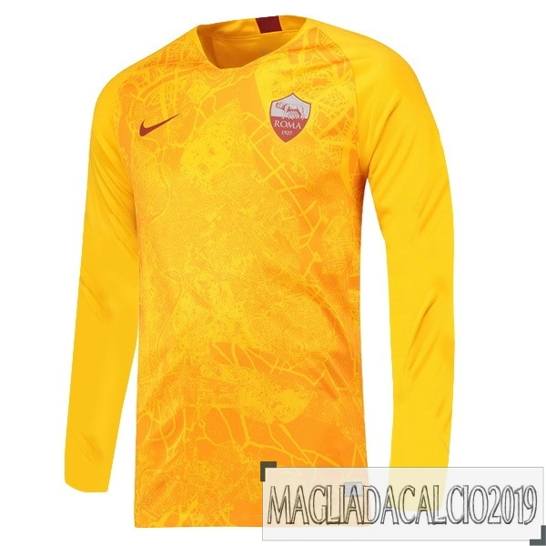 Kit Calcio Offerta Nike Terza Manica Lunga As Roma 18-19 Giallo