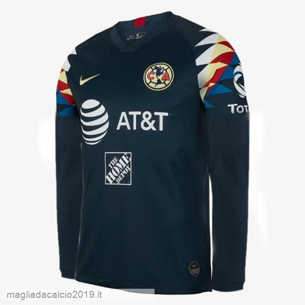 Kit Calcio Offerta Nike Away Manica lunga Club América 2019 2020 Blu Navy