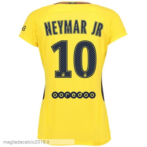 Kit Calcio Offerta Nike NO.10 Neymar JR Away Maglia Donna Paris Saint Germain 17-18 Giallo