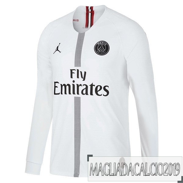 Kit Calcio Offerta JORDAN Terza Away Manica Lunga Paris Saint Germain 18-19 Bianco