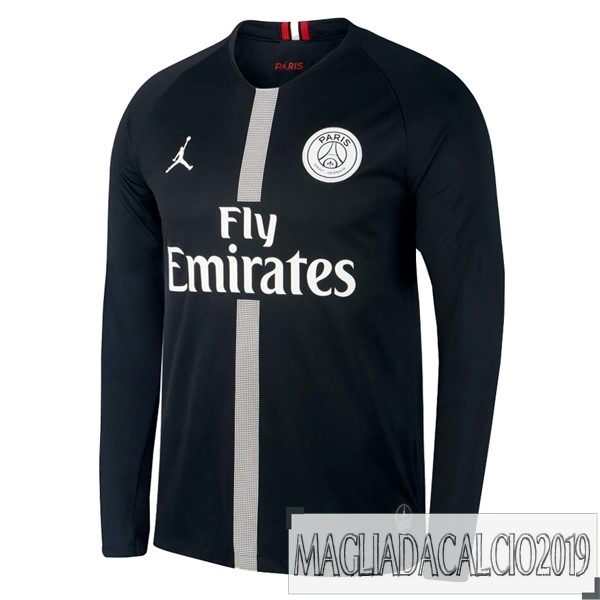 Kit Calcio Offerta JORDAN Terza Home Manica Lunga Paris Saint Germain 18-19 Nero
