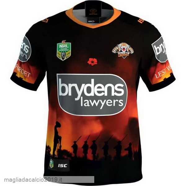 Kit Calcio Offerta ISC Anzac Round Rugby Maglia Wests Tigers 2018 Nero