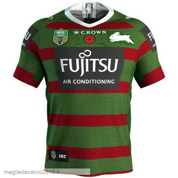 Kit Calcio Offerta Isc Anzac Round Rugby Maglia Rabbitohs 2018 Verde