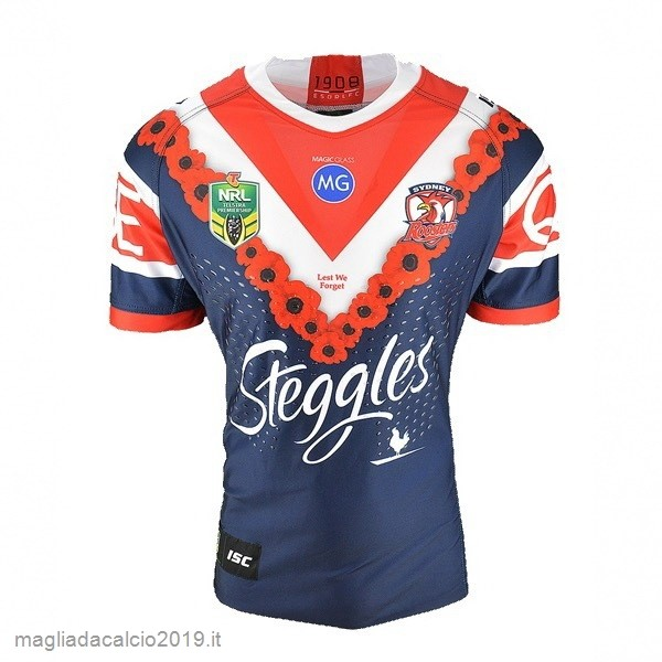 Kit Calcio Offerta Isc Anzac Rugby Maglia Sydney Roosters 2018 Blu