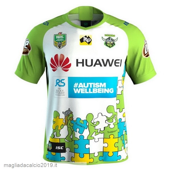 Kit Calcio Offerta Isc Huawei Caridad Rugby Maglia Canberra Raiders 2018 Bianco Verde