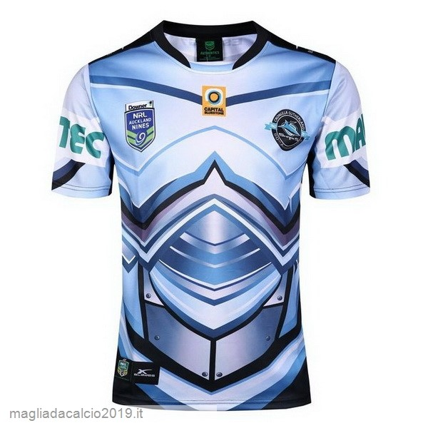 Kit Calcio Offerta Xblades Auckland 9's Rugby Maglia Cronulla Sharks 2017 Blu